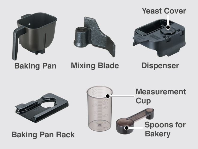 Baking Pan, Mixing Blade, Yeast Cover, Dispenser, Baking Pan Rack, Measurement Cup, Spoons for Bakery