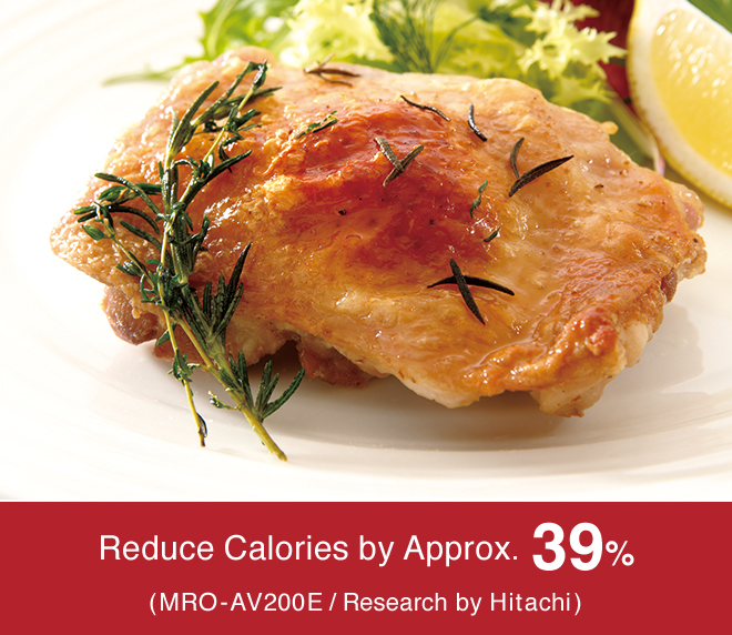 Reduce Calories by Approx. 39%, (MRO-AV200E / Research by Hitachi)