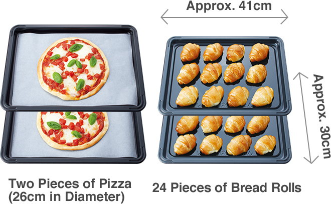 Two Pieces of Pizza (26cm in Diameter), 24 Pieces of Bread Rolls