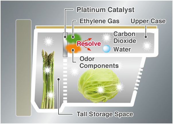 Platinum Catalyst, Ethylene Gas, Odor Components, Upper Case, Tall Storage Space, Water, Carbon Dioxide, Resolve