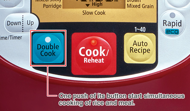 One push of its button start simultaneous cooking of rice and meal.