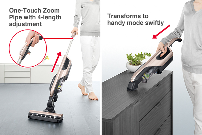 One-Touch Zoom Pipe with 4-length adjustment, Transforms to handy mode swiftly